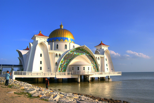 by MFannuarHDR on Flickr.The Malacca Straits Mosque  is a mosque located on the man-made Malacca Island near Malacca Town in Malaysia.