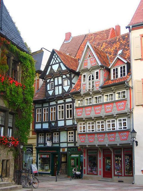 Beautiful saxon buildings in Quedlinburg, Germany