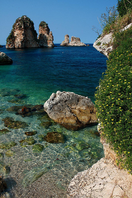 Mediterranean blue at Tonnara di Scopello in Sicily, Italy