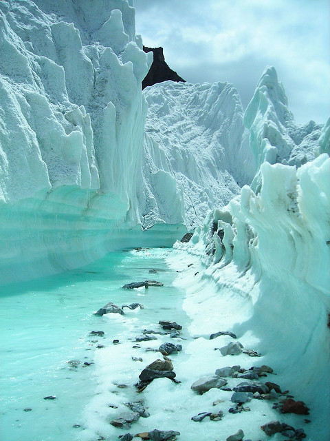 Glacier stream on Karakorum Mountains, northern Pakistan